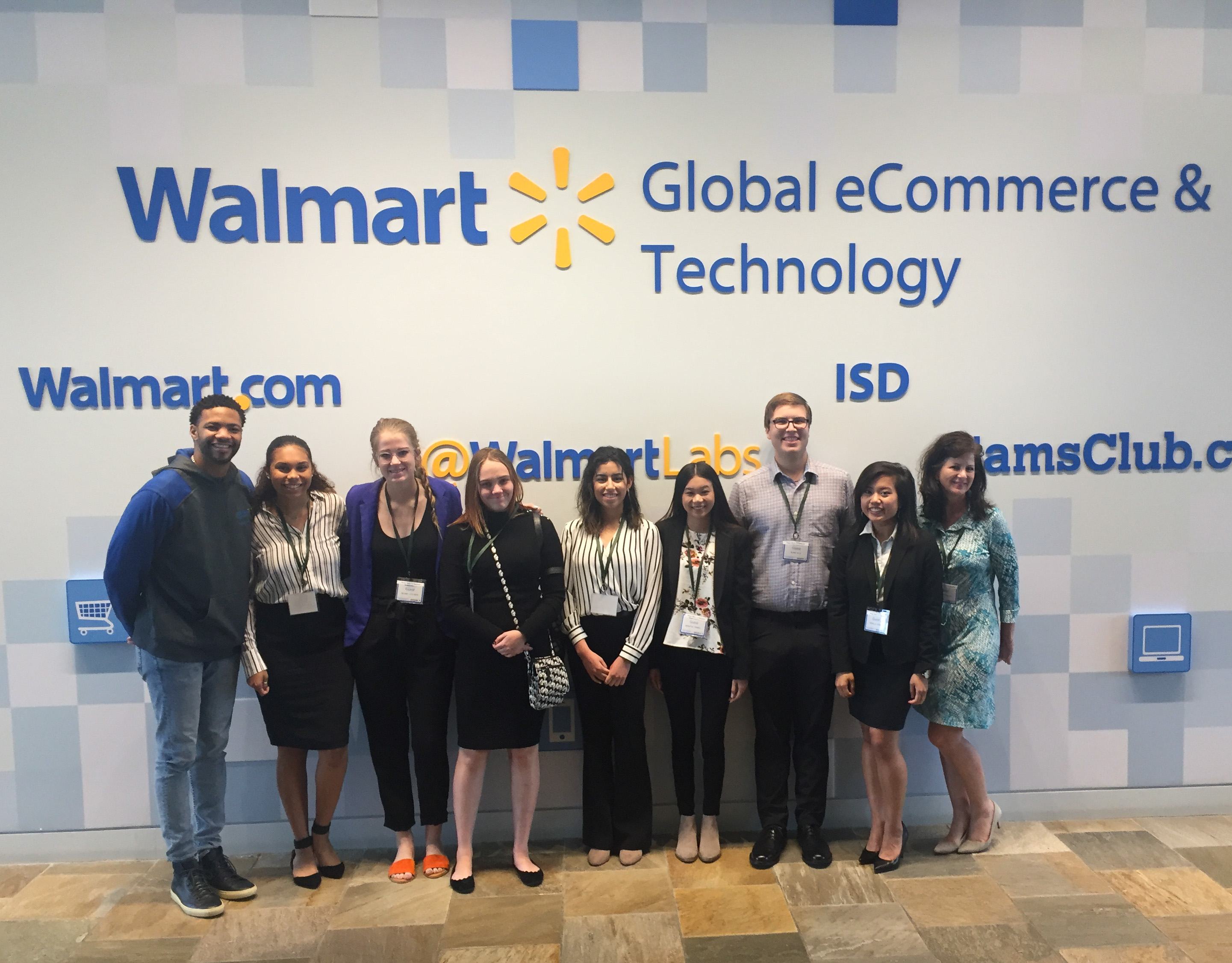 University of North Texas students and Linda Mihalick visiting Walmart.com headquarters